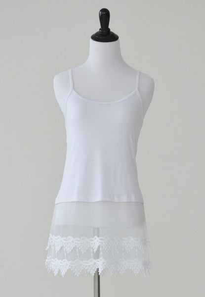 White Top Extender With Lace Boho Pointed Scalloped Lacey Trim Shirt Extension Adjustable Straps Cami Camisole Slip S M L Or XL