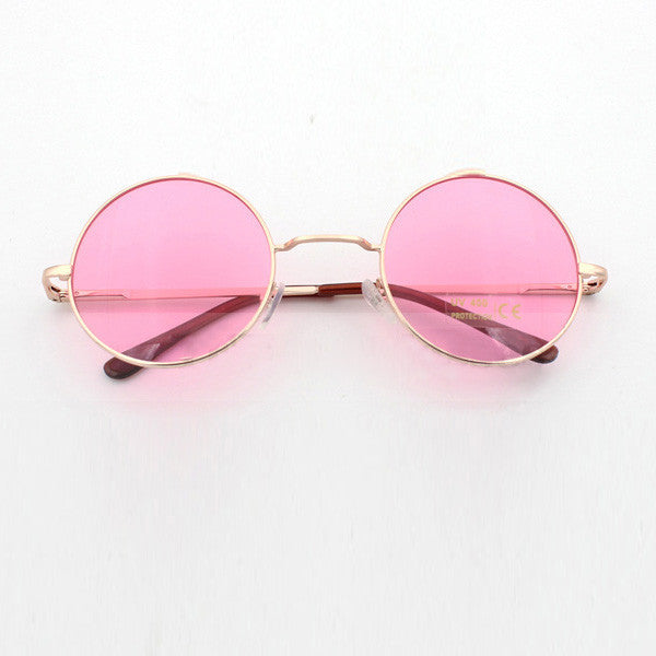 John Lennon Round Sunglasses In 3 Pastel Colors Pink Blue Or Purple Hippie Shades With Gold Frames Coachella Festival Boho Groovy