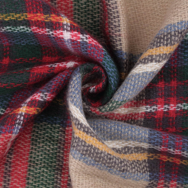 Plaid Blanket Scarf Toggle Poncho It's A Beige Red Navy Blue Scarf And A Boho Poncho Kimoncho Wrap With Fringe Edge One Size Fits All