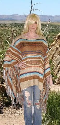 50% OFF SALE Mexican Blanket Poncho Boho Sweater With Fringe Brown Tan And Turquoise In Sizes XS - Small Or Medium - Large
