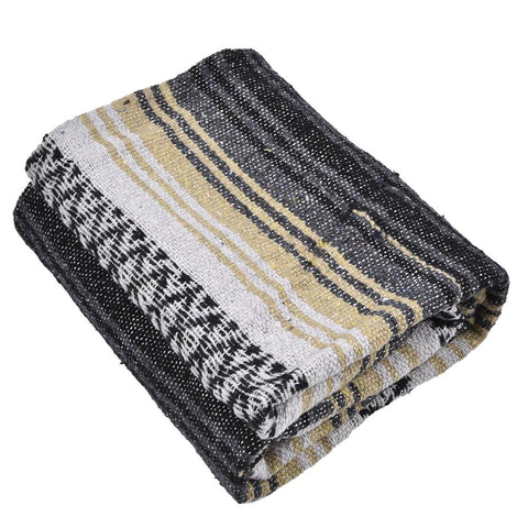 "Mexican Blanket Falsa Yoga Mat Hand Woven Natural Beach Throw Outdoor Festival Picnic Blanket Camping Thick Soft 70"" x 50"" Brown Or Blue You Choose"