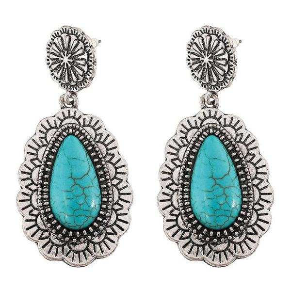 Turquoise Silver Gypsy Earrings
