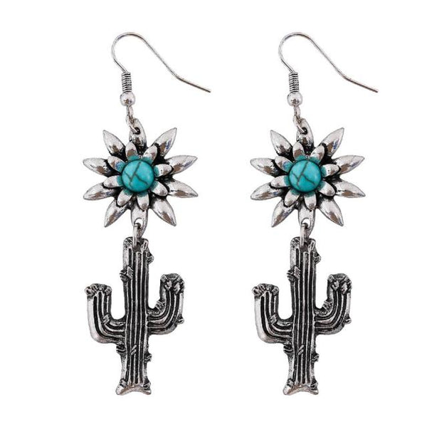 Silver Turquoise Cactus Earrings