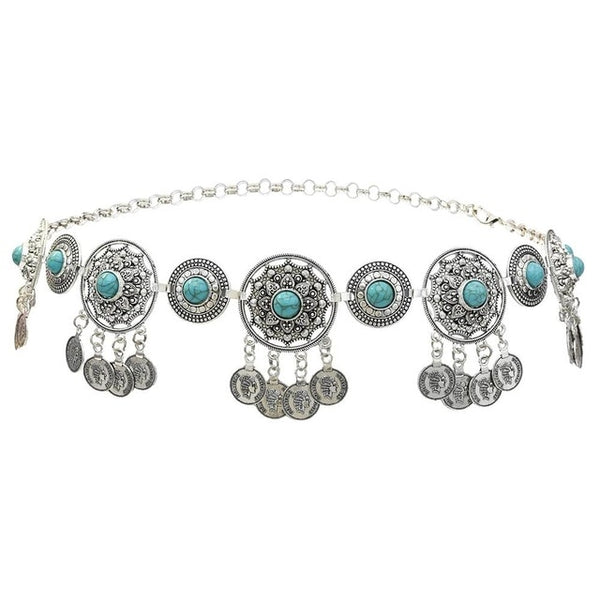 Silver Turquoise Coins Belt