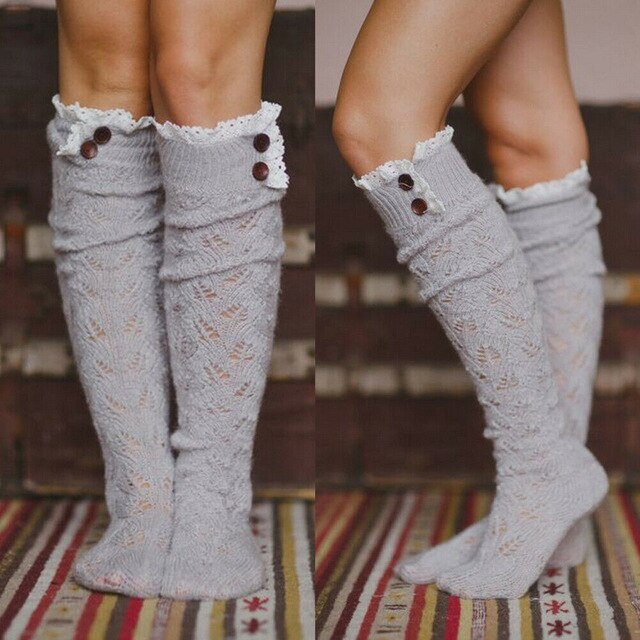 Gray Lace Buttons Socks