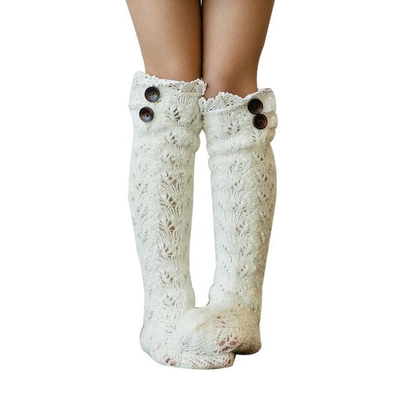 White Lace Buttons Socks