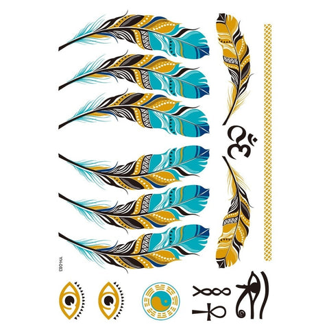 Gold Turquoise Feather Tattoos