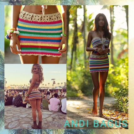 Rainbow Crochet Skirt Tube Top Set Lace Up Bandeau Boho Festival Mini Handmade Available In Small Medium Or Large