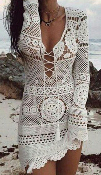 Desert Rose Dress White Crochet Lace Up Front Boho Mini Long Sleeve Mandalas Scallops Festival Fox Fits Small Medium Or Large