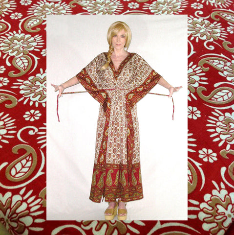 India Kaftan Maxi Dress Red Paisley Exotic Print Caftan Boho Gown Bohemian Hippie Gypsy  Small Medium Large Extra Large Plus Sizes Too