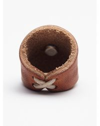 Free People Red Sands Leather Ring Brown Nickel Concho With Turquoise Stone Center Starburst Shield