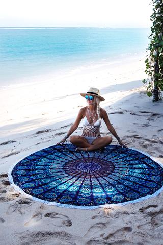 Roundie Mandala Beach Throw Scarf Wrap Bohemian Wall Tapestry Bedspread Blue & Turquoise Gypsy Yoga Mat