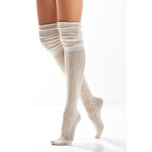 Slouch Top Boot Socks Ivory Over The Knee Boho Pointelle Lace Scrunch Toppers Cream Thigh High Knee High