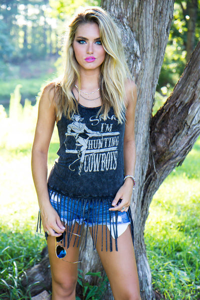 Shhh! I'm Hunting Cowboys Graphic Tank Top With Long Fringe Distressed Black Racerback Cowgirl Tee Shirt Small Medium Or Large
