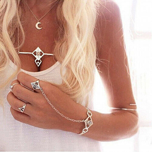 Gypsy Slave Bracelet Ring Chain Attached Opulent Stones On Silver Cuff Egyptian Sun Goddess Symbols