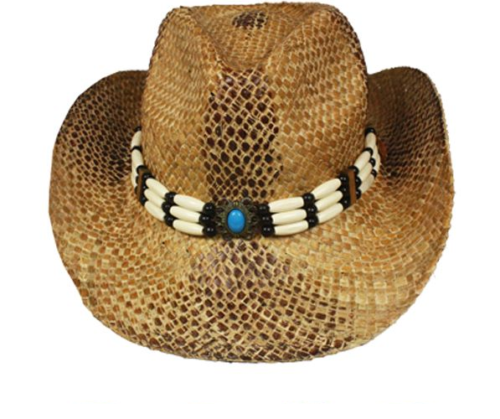 Straw Cowboy Hat Cowgirl Hat Boho Western Sun Hat Comes With Turquoise Hairpipe Hat Band Available In Snakeskin Print Or Dark Brown
