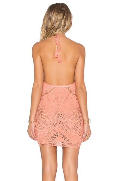 "Coral Crochet Dress ""Palm Springs"" Halter Neck Peach Festival Mini Swimsuit Cover Up One Size"