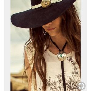 Silver Concho Bolo Tie Black Vegan Leather Rope Boho Necklace Silver Tips Cast A Gypsy Spell
