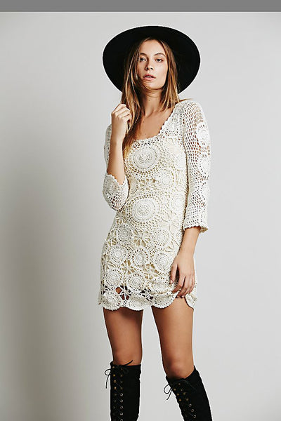 Crochet Dress 3/4 Sleeves