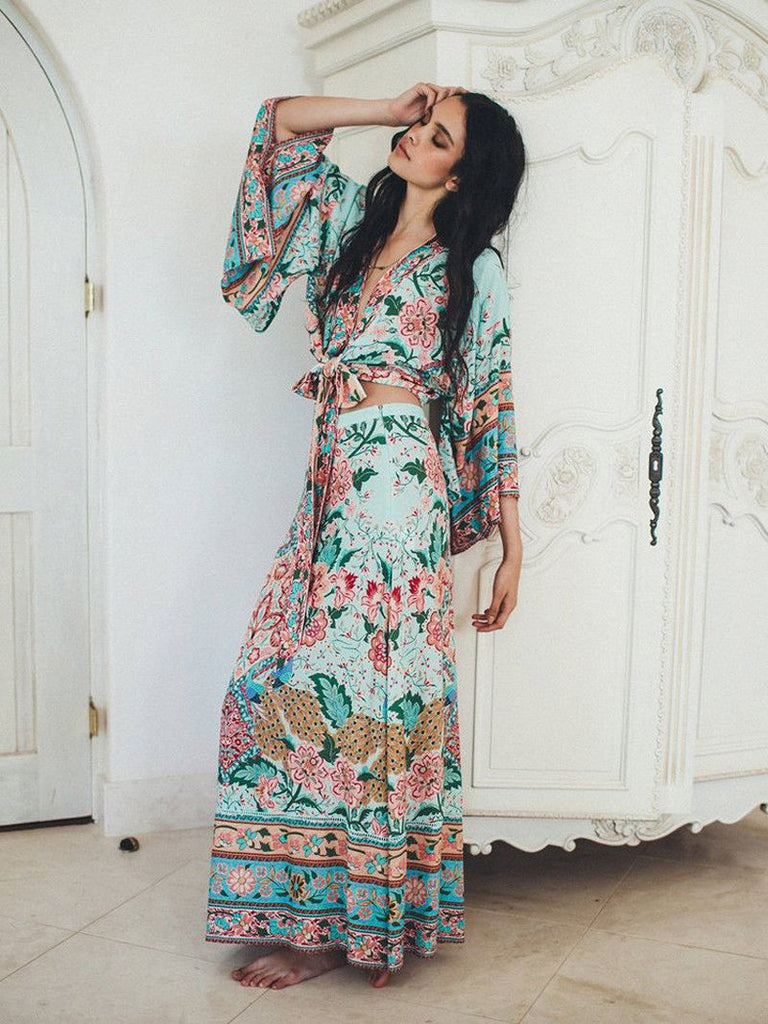 "Spell And The Gypsy For Free People ""Lotus"" Tie Front Kimono Top And Double Slit Maxi Skirt Set Color Peacock Size XS Small Medium Or Large"