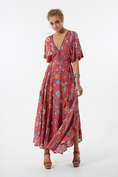"Bohemian Maxi Dress ""Lovebird"" Half Moon Long Floral Gown Deep V Front & Back Tassel Ties Sizes Small Medium Or Large"