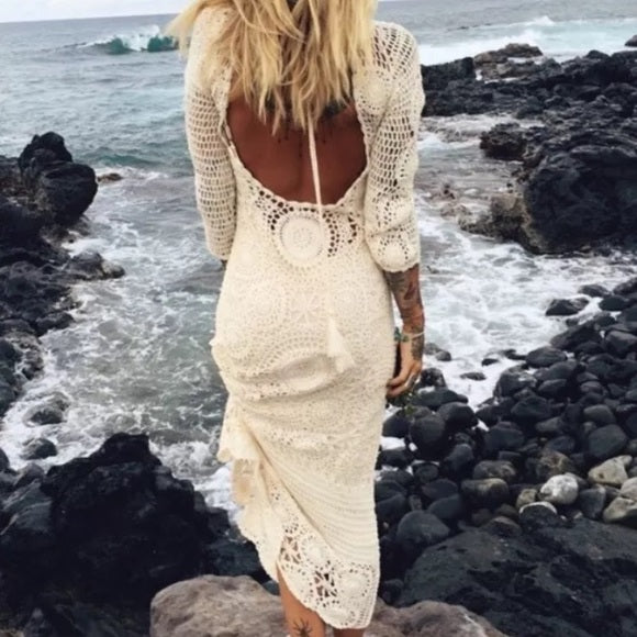Spell And The Gypsy Margarita Maxi Dress White Crochet Mandalas Includes Slip Size Small / Medium Free People