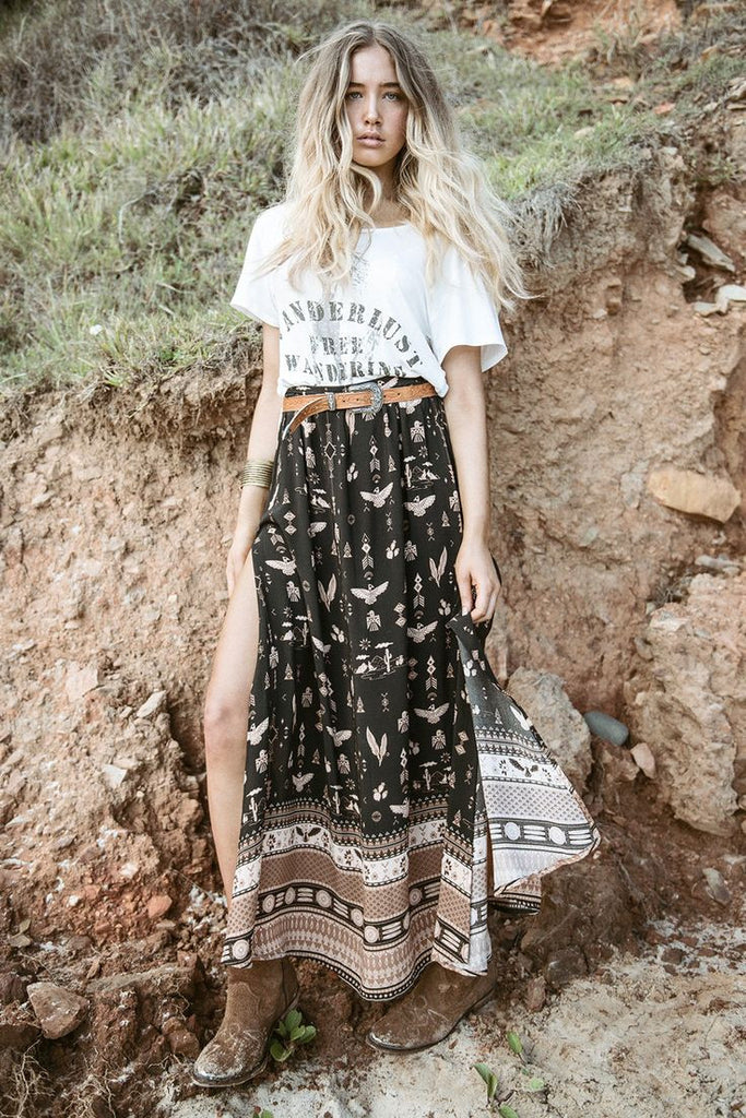 "Phoenix Boho Maxi Skirt In ""Mustang"" Black And Tan Aztec Bohemian Border Size Small Medium Large Or Extra Large"