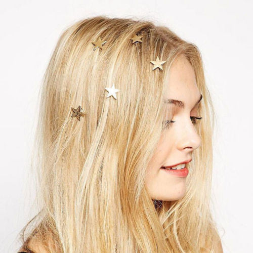 Gold Stars Hair Clips 5 Piece Set Twist Ins Boho New Year's Eve Barrettes Celestial Golden Magick Accessories