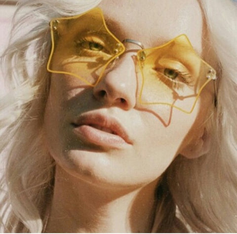 Star Shaped Sunglasses Yellow Sunshine Hippie Shades For Festival Foxes Brighten Everyone's Day!