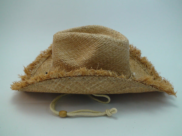 Fringed Straw Cowboy Hat