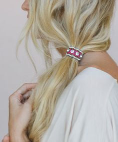 Beaded Hair Tie Handmade Indian Hair Elastic Clear Crystals Pink Bronze And White Seed Beads Made In India