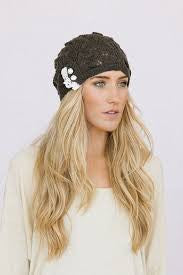 Boho Beanie Lace And Button Charcoal Gray Stocking Cap Crochet Lace