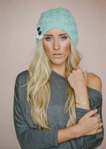 Boho Beanie Lace And Button Mint Stocking Cap Crochet Lace Wooden Button Slouch Hat One Size