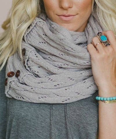 Boho Buttons Infinity Scarf Gray Chunky Soft Multiple Wood Button Winter Eternity Scarves