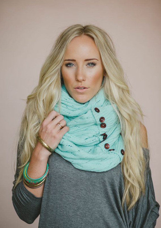 Boho Buttons Infinity Scarf Mint Chunky Soft Multiple Wood Button Winter Eternity Scarves