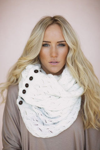 White Buttons Scarf