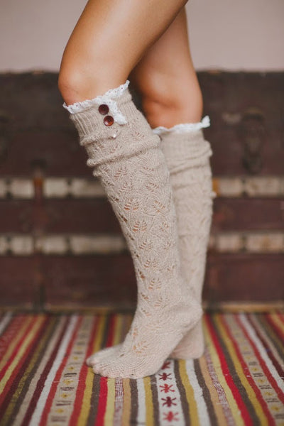 Lace Button Boot Socks Camel Brown Thick Cushy Soft Crochet Lace & Wood Button Top