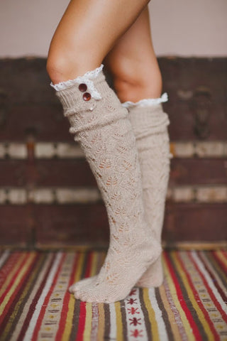 Lace Button Boot Socks Taupe Thick Cushy Soft Grayish Brownish Crochet Lace & Wood Button Top
