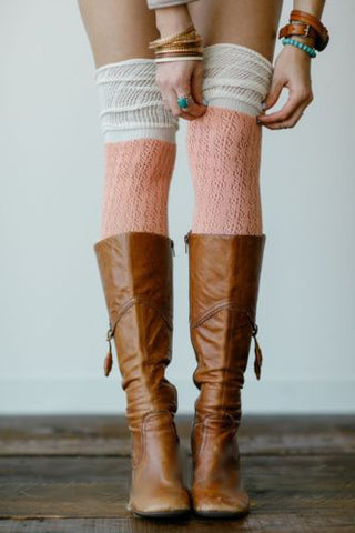 Slouch Top Boot Socks Coral Over The Knee Boho Pointelle Lace With Ivory Scrunch Tops Thigh High Knee High