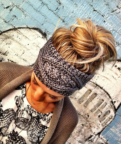 Boho Cable Knit Ear Warmer Headband Charcoal Gray Best Selling Super Soft Buttons On & Off One Size