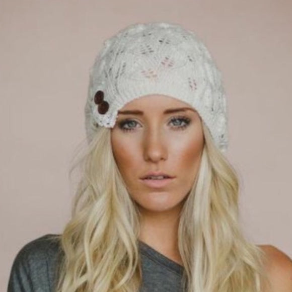 Lace Buttons Beanie
