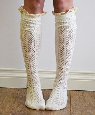 Ivory Boho Boot Socks Crochet Lace Button Top Chevron Weave Knee High