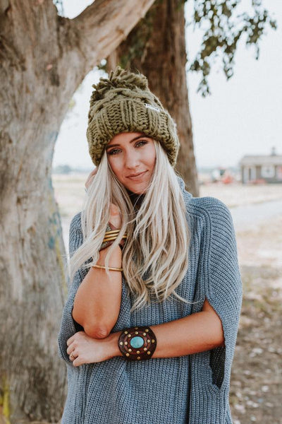 Olive Green Beanie Big Pom Pom Boho Stocking Cap Army Cargo Winter Hat Huge Pom Free Spirited People