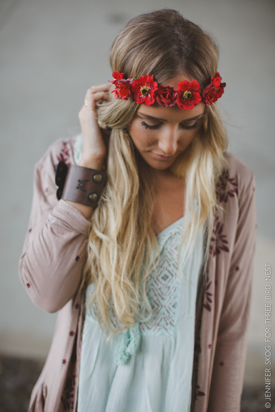 Red Poppy Flower Crown Floral Hair Wreath Boho Headband Crimson Poppies Woodstock Hippie Be Sure To Wear Flowers In Your Hair
