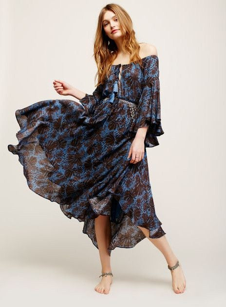 "SALE 50% OFF Off The Shoulder Boho Maxi Dress ""The Island Life"" Bell Sleeves Lace Up Front Dark Blue And Black Print Sizes Small Medium Large Or Extra Large"