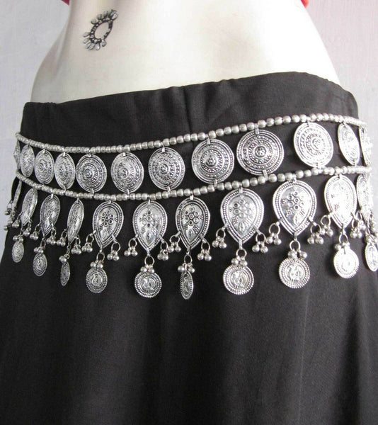 Gypsy Silver Coin Belt Three Rows Boho Belly Chain Adjustable Size Great For Festivals & Beach!