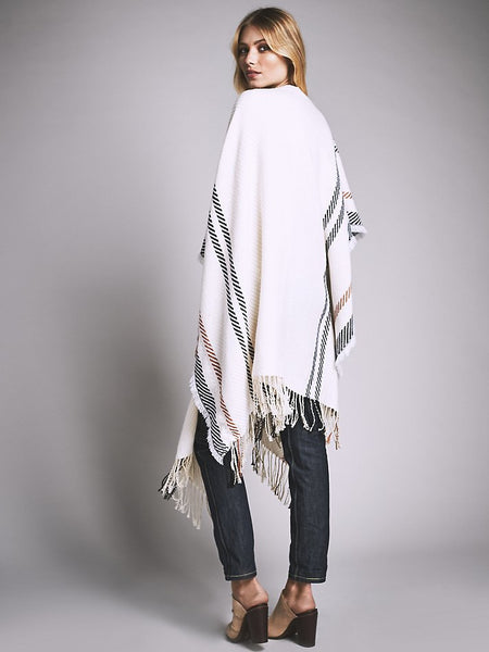 Free People Topanga Fringe Ruana Super Soft Poncho Kimono Southwestern Wrap Off White Clay Black One Size Fits XS Small Medium Large Extra Large XL