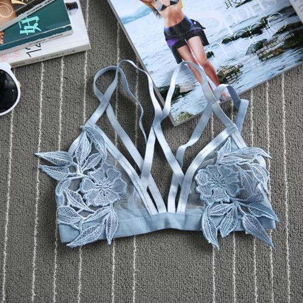 "SALE 50% OFF Sky Blue Mesh Floral ""Tulum"" Triangle Bra See Thru Skivvies With Flower Applique In The Center Sizes Small Medium Large Or Extra Large"