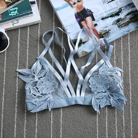 "Sky Blue Mesh Floral ""Tulum"" Triangle Bra See Thru Skivvies With Flower Applique In The Center Sizes Small Medium Large Or Extra Large"