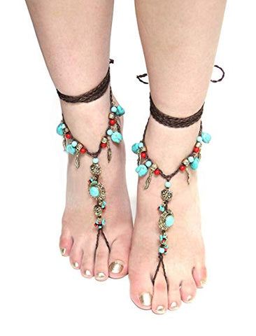 SALE 50% OFF Barefoot Sandals Turquoise Coral Silver Or Gold Conchos Feathers Beach Feet Jewelry Brown Braided Anklet Toe Ring